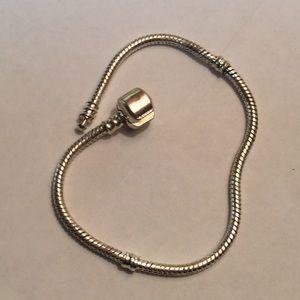 Silver Euro Snake Chain Charm Bead Bracelet